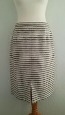 Eastex Off White Blue Beige Striped Thick Cotton Pencil Skirt Size 14