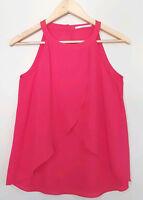 JANE LAMERTON Womens Cherry Red Blouse Singlet Sheer Summer Top Size 8