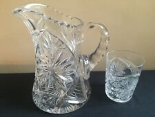 1-1/2 Quart Heavy Lead? Crystal Pitcher w/Cut Starburst Pattern; Matching Glass