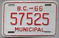 British Columbia 1966 MUNICIPAL License Plate # 57525