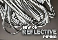 Sports/Safety Silver Trim High Visibility Edging Sew On Reflective Piping 1cm Wd