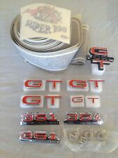 FORD FALCON XW GT COMPLETE BADGE KIT WITH CLIPS + BLACK XW GT STRIPE KIT & ROOS