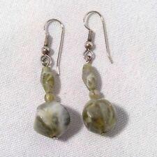 "dangle earrings glass beads moss green/white swirl 1.5"" length"