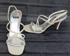 Stuart Weitzman Beige Satin Strappy Evening Sandals Shoes Size 6.5 M