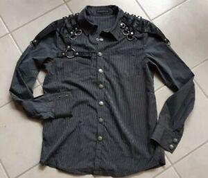 Gothic Hemd Punk Rave Gr. L schwarz grau Nadelstreifen Ösen WGT Metal