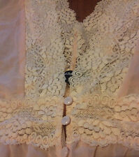 Women's Sheer Apricot Pink Lace Top (Size XL small fit)
