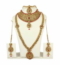 4084  Indian Bollywood Style Fashion Gold Plated Bridal Jewelry Necklace Set