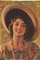 Original Mexican Calendar Art Print by Antonio Gomez R . 1936 Rare
