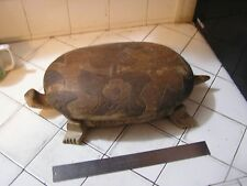 Vintage Folk Art Carved Wood Turtle Trinket Box Signed Nassau