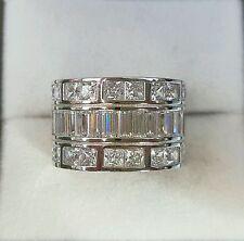 New!Diamonique 4ct baguette/princess cut diamond ring sterling silver,size P,QVC