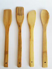 New Large 4Pcs Set Bamboo Wooden Kitchen Utensil Cooking Slotted Spoon Turner UK