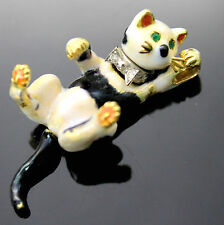 ESTATE ANTIQUE DIAMONDS EMERALDS MULTICOLORED ENAMELED CAT 750 18K GOLD PENDANT