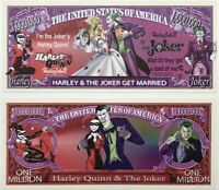 Pack Of 25 - Harley Quinn and The Joker Get Married 1 Million Dollar Bill