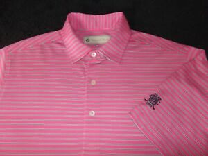 DONALD ROSS PERFORMANCE POLYESTER GOLF POLO - M - PINK STRIPES - SPOTLESS