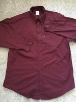 Brooks Brothers Mens Burgundy Long Sleeve Button Up Dress Shirt Size L