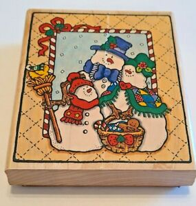 From Our House to Yours Penny Black 816K Snowman Family Holiday Rubber Stamp