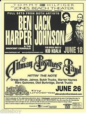 Allman Brothers Band Ben Harper Jack Johnson Concert Handbill Flyer 2003