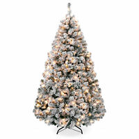 BCP 6ft Snow Flocked Pre-Lit Artifical Pine Christmas Tree w/ Warm White Lights