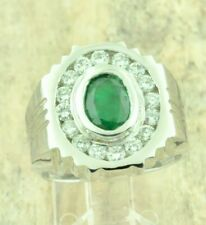 14k Solid White Gold Mens Natural Diamond Emerald ring  May Birthstone