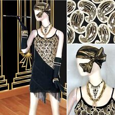 5 PC FLAPPER Gatsby 20s COSTUME Sequin Fringe DRESS Cig Holder GLOVES Head Scarf