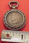 Miniature Indian Head Penny Pocket Watch Fob Chain Charm Pendant Drop
