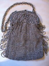 Antique Victorian Silver Floral Frame Braided Fob Chain Crochet Steel Bead Purse