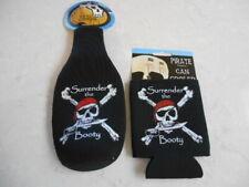 "Combo Pirate ""Surrender the Booty"" Black Neoprene Can Bottle Suit Insulators"