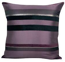 """Quality Purple Black Shiny Silver Multi Stripe Cushion Covers 18X18"""" 45X45cm"""