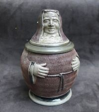 Nice quality 19th Century Westerwald stoneware beer jug in the shape of a monk