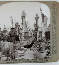 WW1 STEREO CARD PHOTO FRENCH GRAVES GERMAN SHELL FIRE SNIPER HIDDEN IN COFFIN