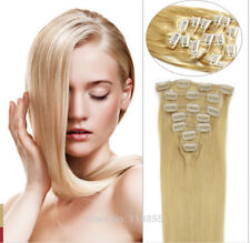 100% Natural Remy Clip in Hair Extensions 7/8 Pieces Full Head Real Human Hair