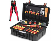 Wiha Tool Case Electricians Tool Kit Electric 34 Pcs Insulated Pliers Cutters