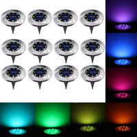 12 Pack 8 LED Stainless Steel Multicolor Solar Operated Ground Lights RGB Buried