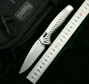 Drop Point Folding Knife Pocket Hunting Survival D2 Blade Aluminum Alloy Handle