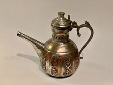 Turkish Ottoman Antique Silver Plated Brass Teapot, 19th Century, Tughra Mark