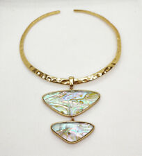 New Kendra Scott Margot Statement Necklace In White Abalone / Vintage Gold