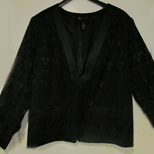 Lane Bryant 28 Satin Lapel Black Tuxedo Blazer Jacket Brocade Damask print NWOT