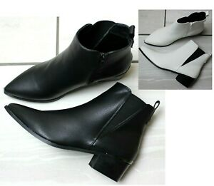 Womens Black White Ankle Boots Chelsea Block Low Heel Zip Up Pointed Toe Shoes