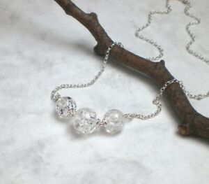 Bergkristall-Kette 925 Silber, Halskette marmoriert pur weiß Sterlingsilber d532