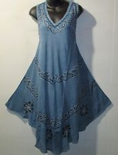Dress Fits 1X 2X 3X Plus Sundress Denim Blue Embroider V Neck A Shaped NWT 7141