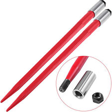 """2pcs 43"""" Square Hay Bale Spear 3000lbs Capacity Red Spike Fork 1 3/4"""" Wide"""