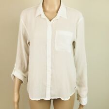 Abercrombie Fitch Women's Size M White Raised Polka Dots Shirt