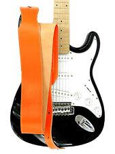 LEDER GITARRENGURT LEATHER GUITAR STRAP 7 cm BREITE Orange