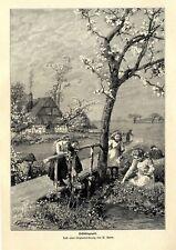 Frühlingszeit Mädchen beim Blumenpflücken Grafik von W.Gause von 1904