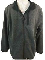 Russell mens jacket hoodie Size L 42 44 full zip 3 pockets gray fleece polyester