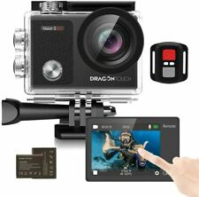 Touch Screen Action Camera, 4K 16MP Underwater 100ft Waterproof  2 batteries acc