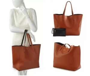 New Directions® Ladies Reversible Tote Hadbag with Pouch - Cognac Color