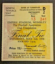 More details for bolton wanderers v manchester utd match ticket f.a. cup final may 3rd 1958.