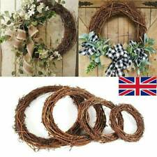 UK Christmas Xmas Artificial Vine Ring Wreath Rattan Wicker Garland Party Decor