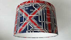 London Underground TUBE MAP  Wallpaper LAMPSHADE..Handmade.(Red,White,Blue)